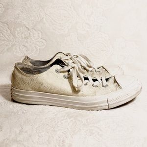 Low Rise Cream Lace Converse